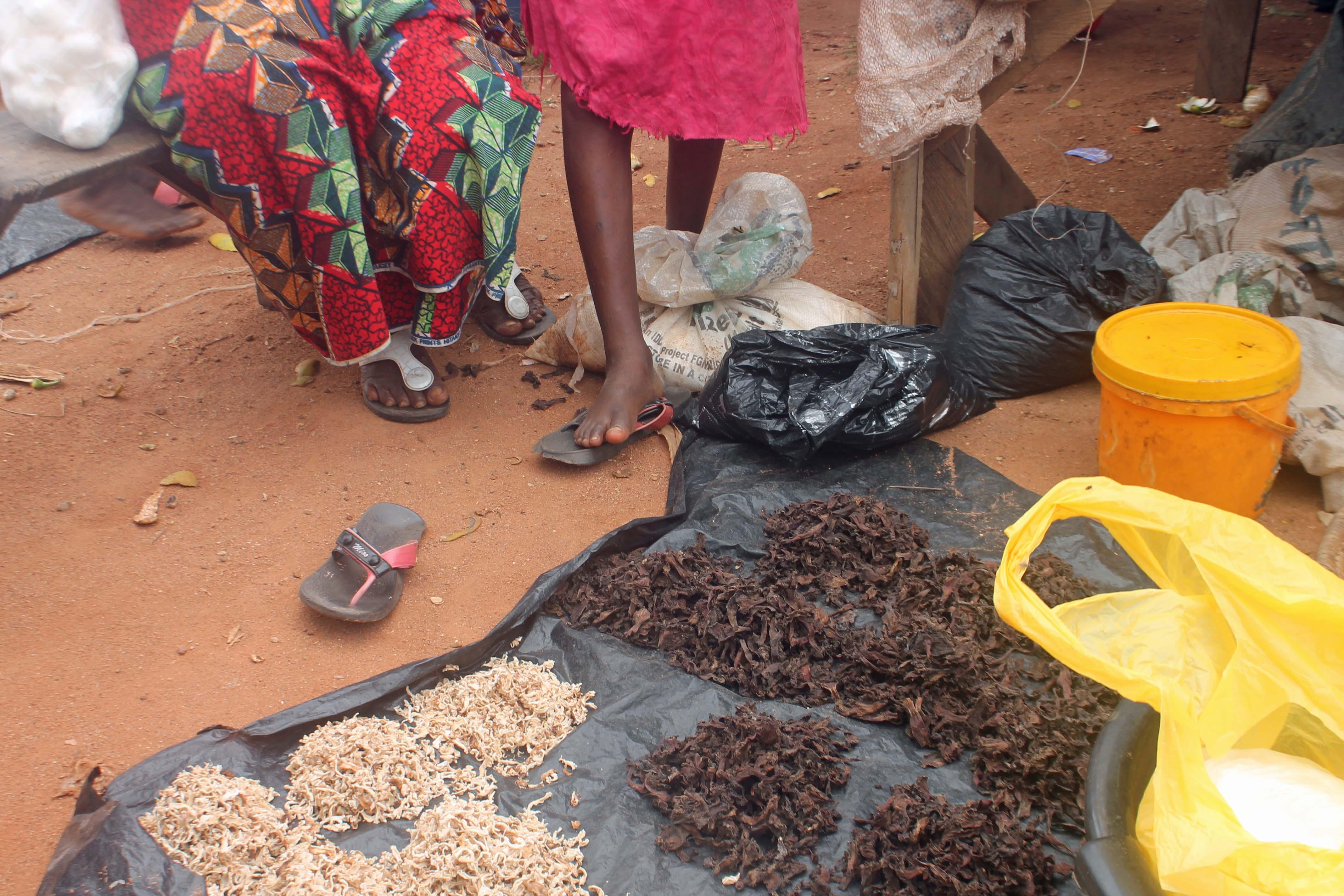 Dried pawpaw and mushrooms, market scene, Yala, Cross River, Nigeria. #JujuFilms