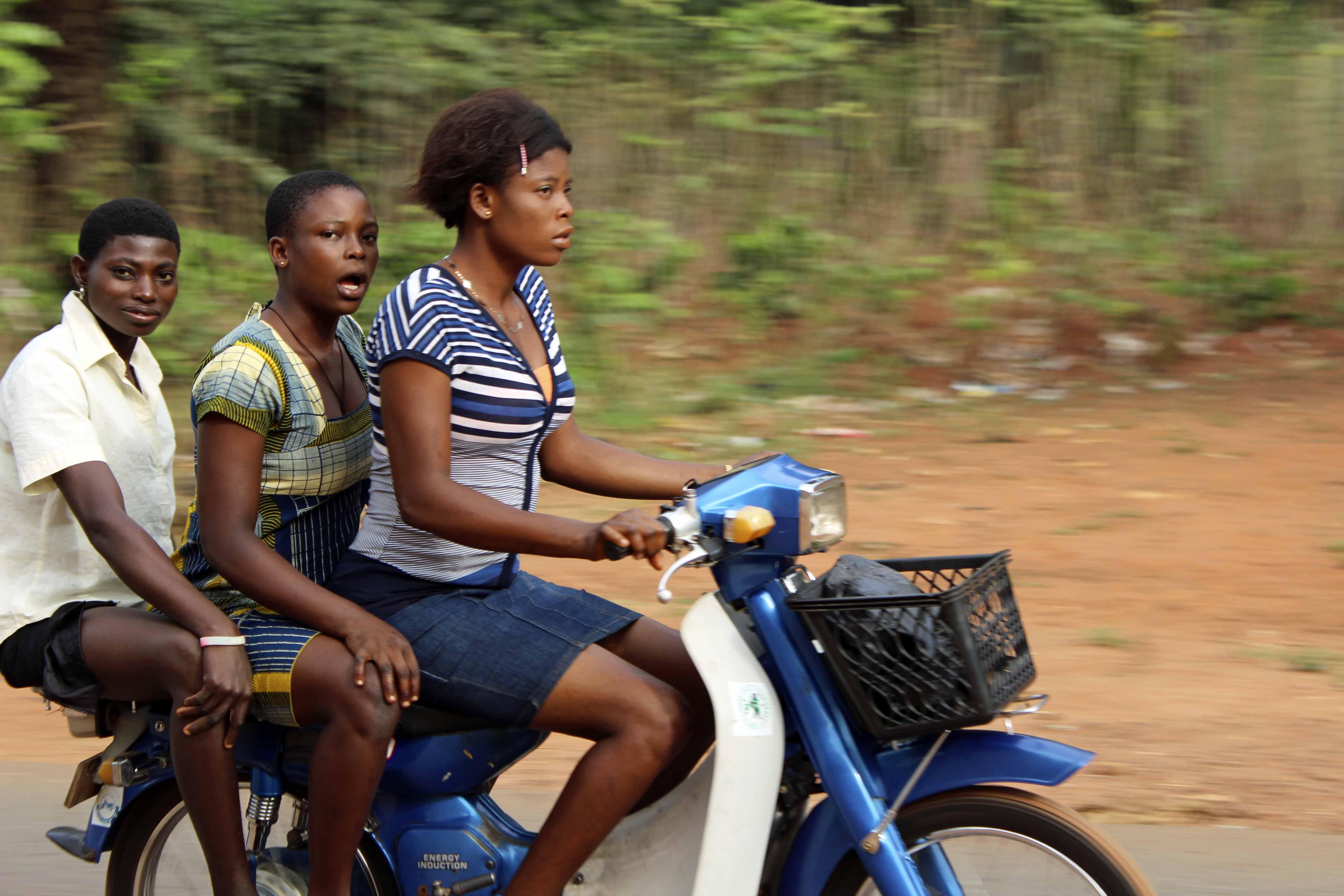 Igbo girls motorcycling in Obolo Village, Enugu State, Nigeria. #JujuFilms
