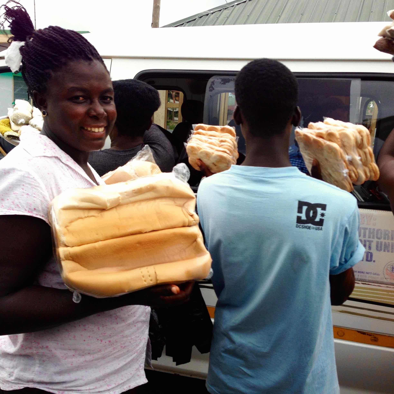 Street Hawking Bread in Sogakofe, Volta, Ghana