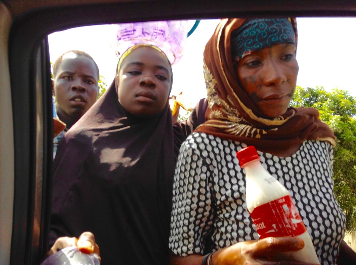 Fulani Woman Roadside Hawking Wara in Akwanga, Nasarawa State Nigeria