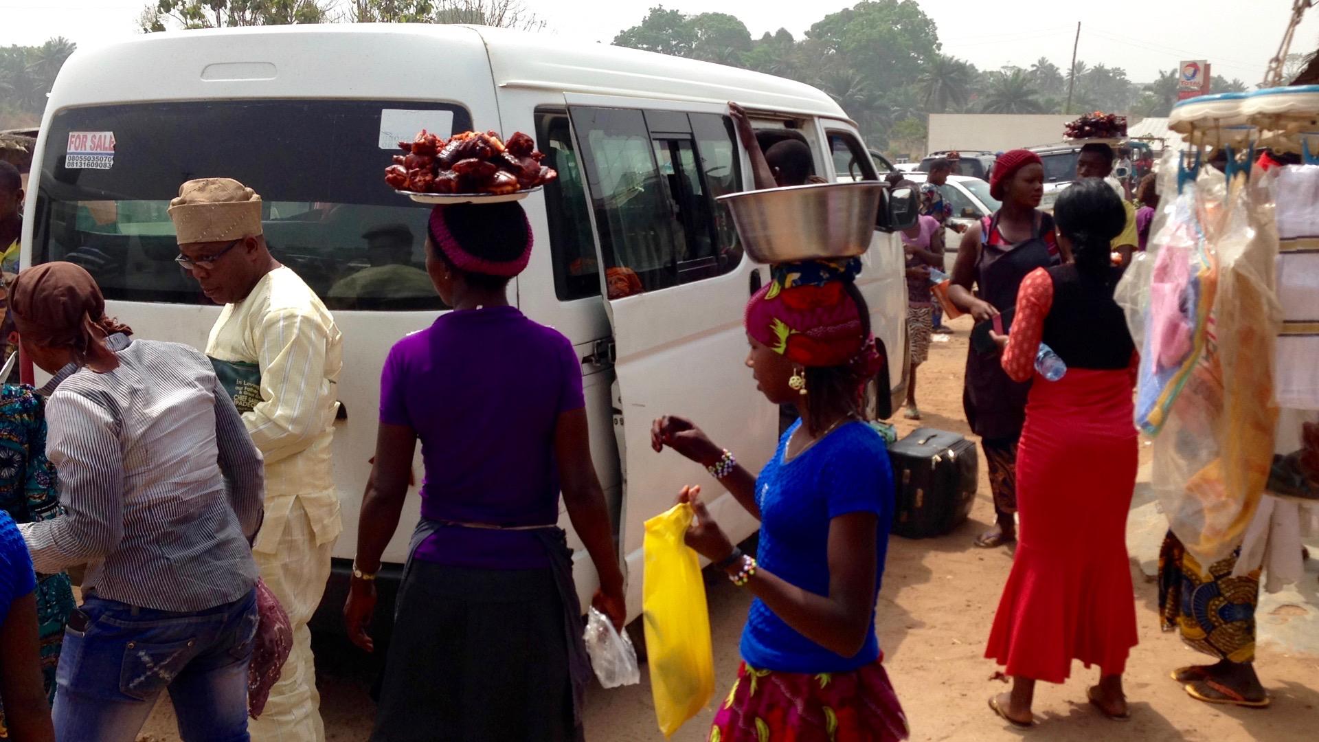 Roadside market scene in Ibillo, Edo Nigeria.
