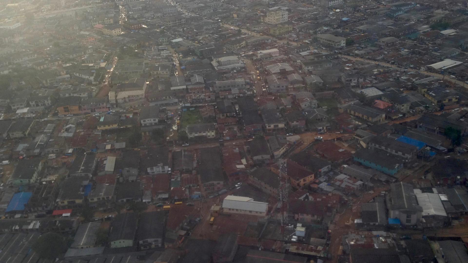 Aerial shot of Agege, Lagos, Nigeria.