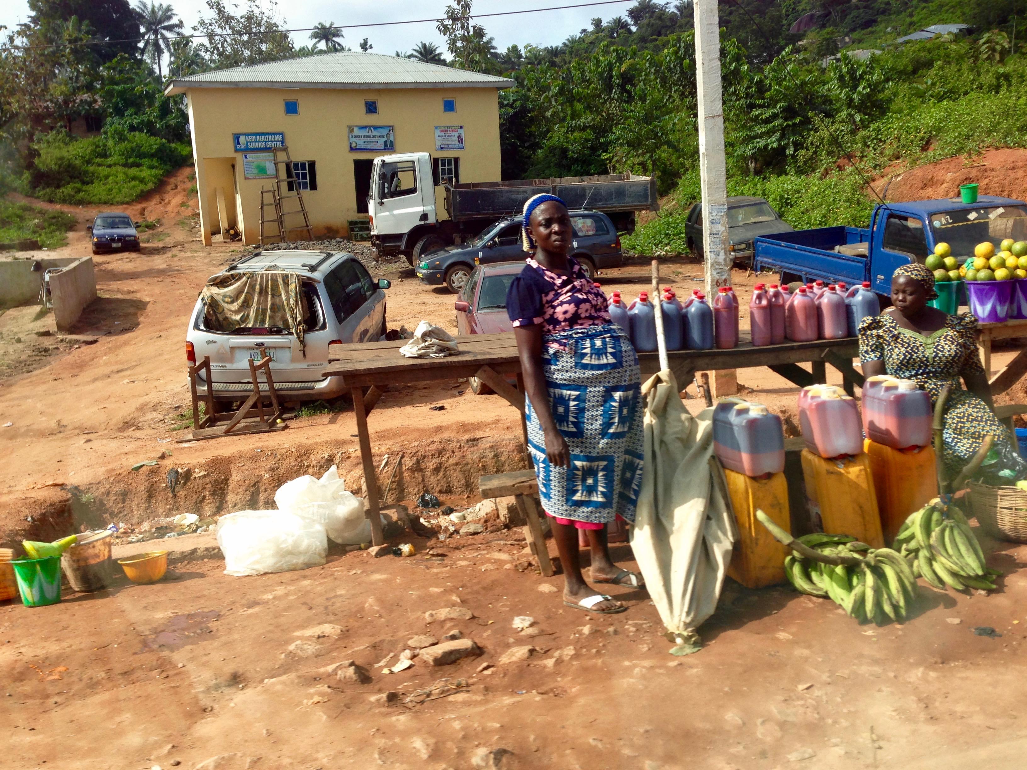 Roadside market scene in Igbara Oke, Ondo, Nigeria.