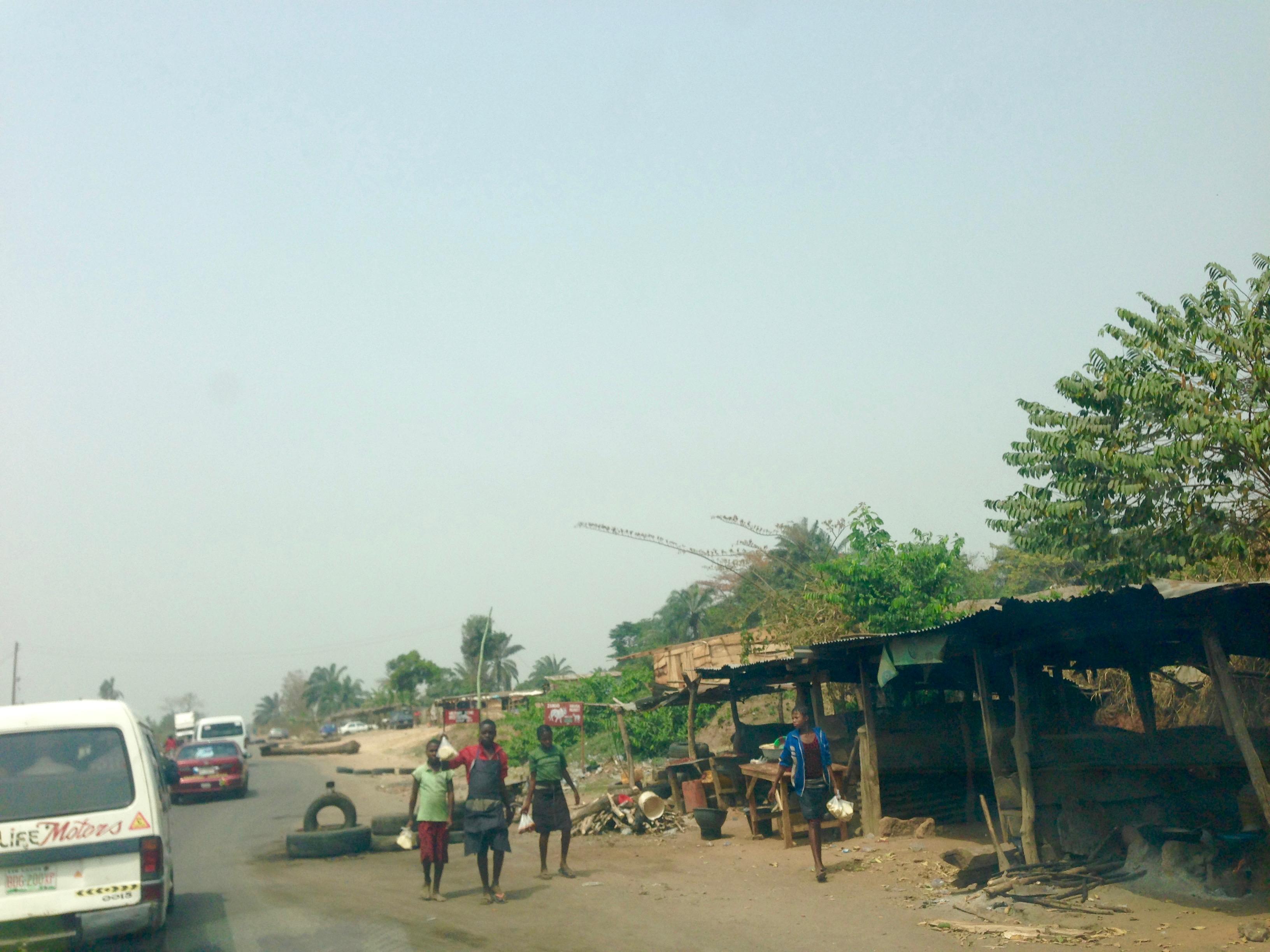 Children roadside hawking fried yams, Ibillo, Edo, Nigeria. #JujuFilms