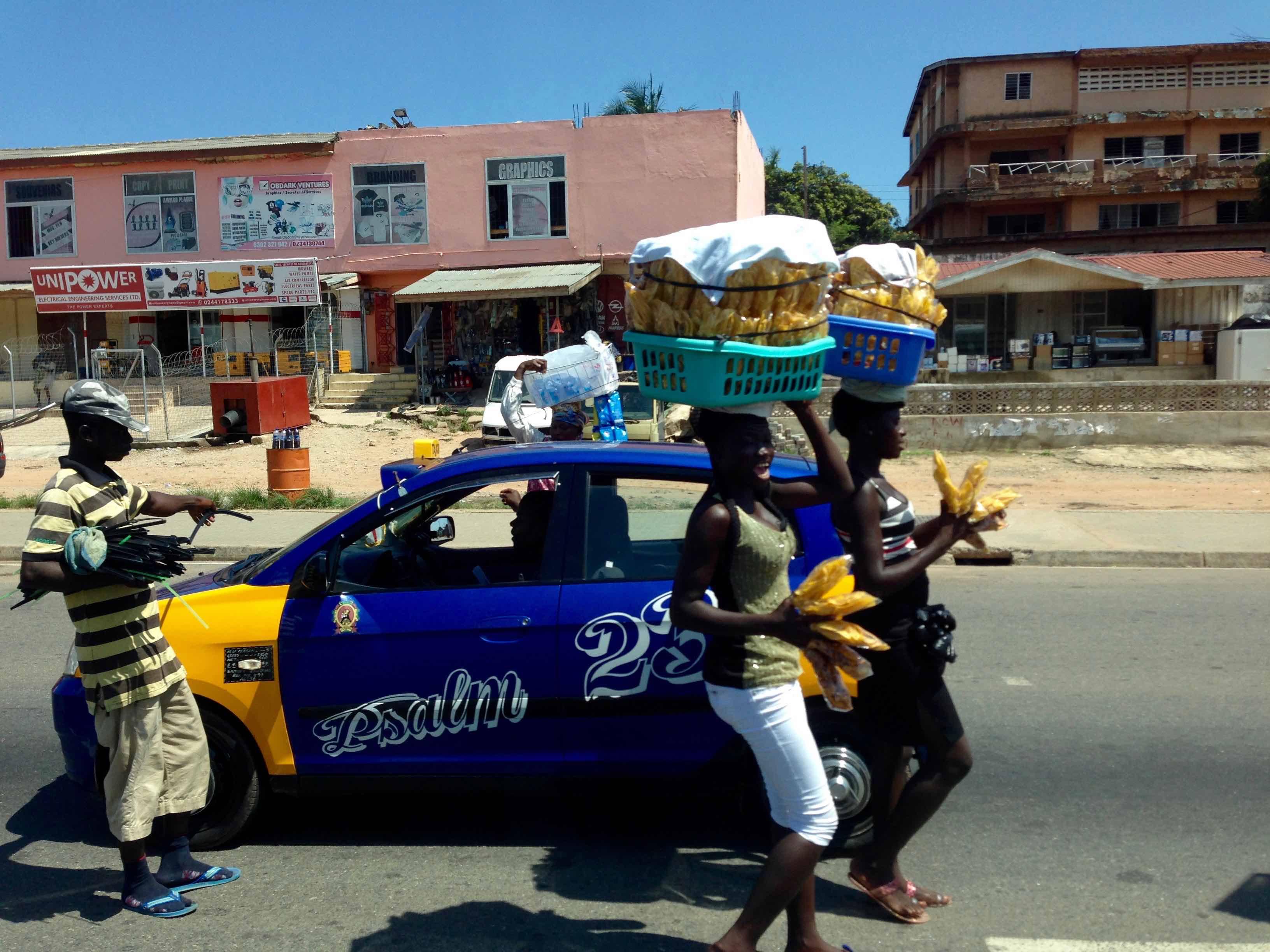 Women street hawking plantain chips in Nima, Accra, Ghana. #JujuFilms