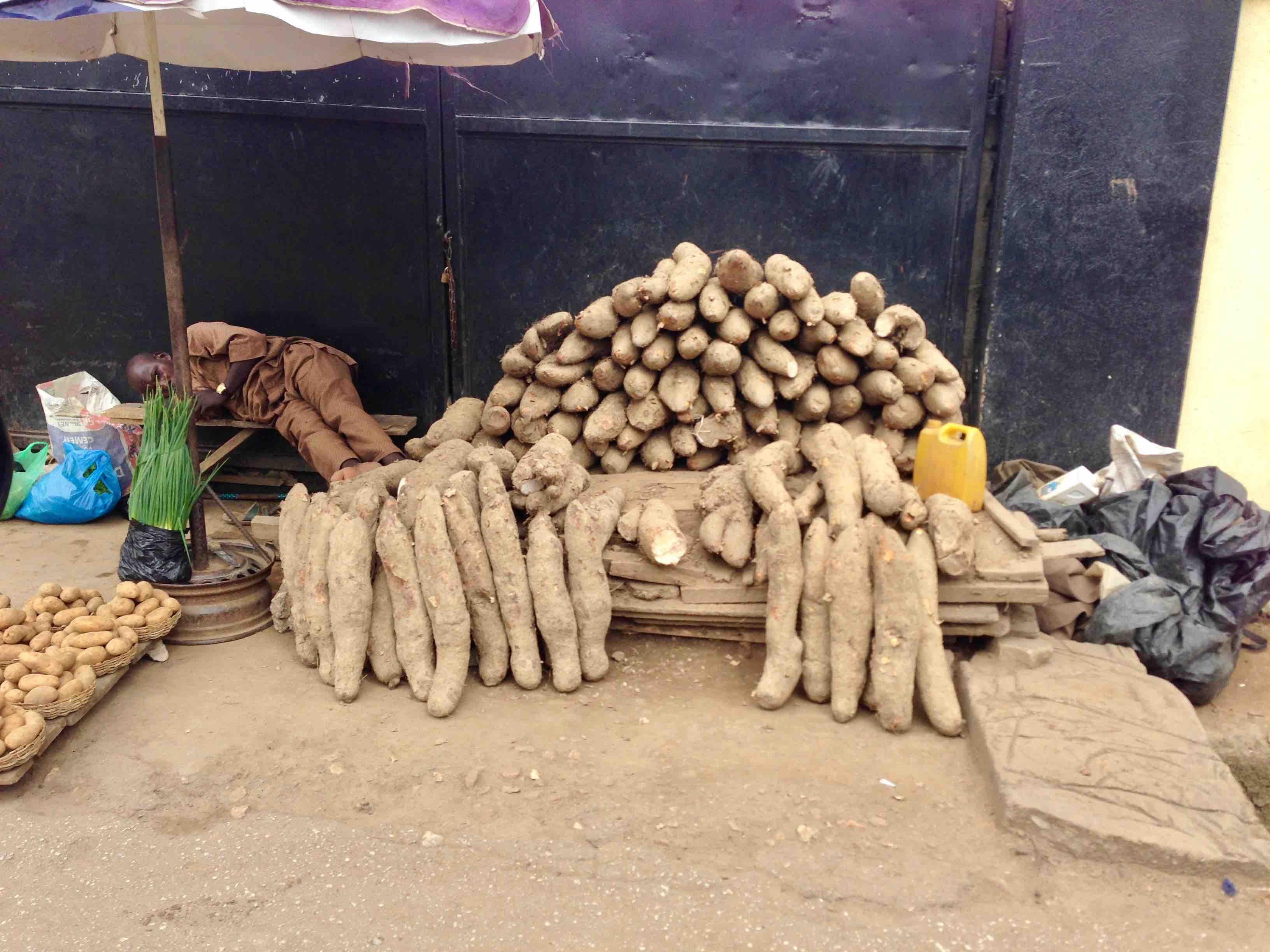 African yams, roadside market, Sunmola Street, Maryland, Lagos State, Nigeria. #JujuFilms