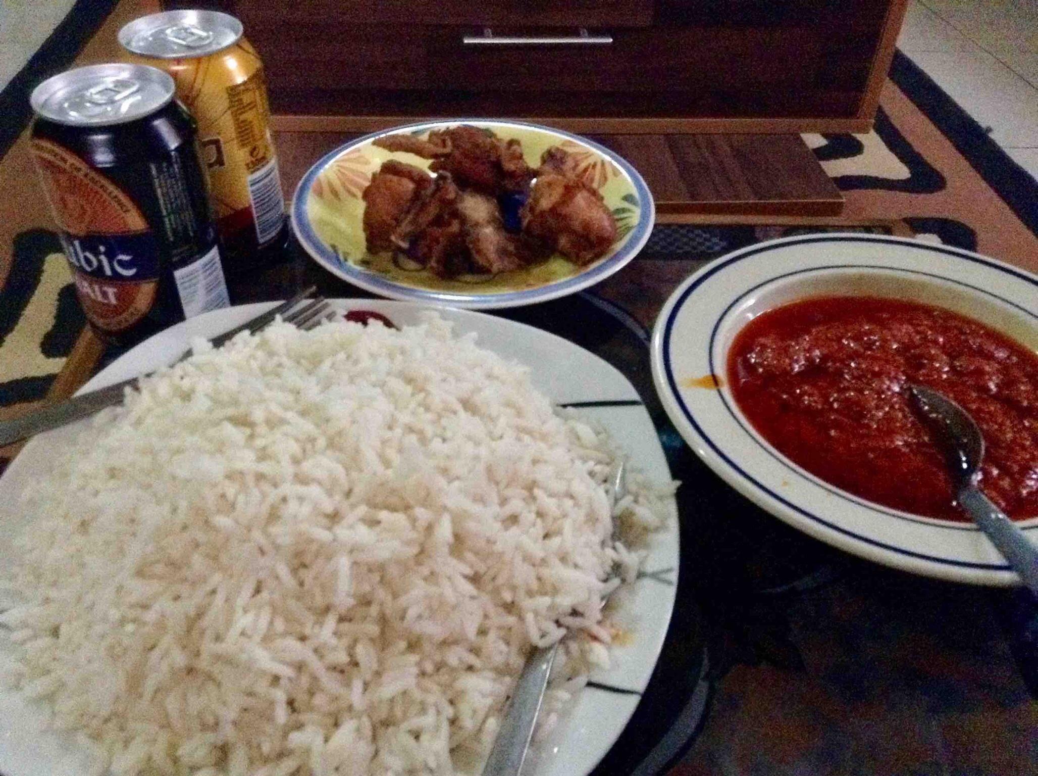 Rice and stew very plenty!
