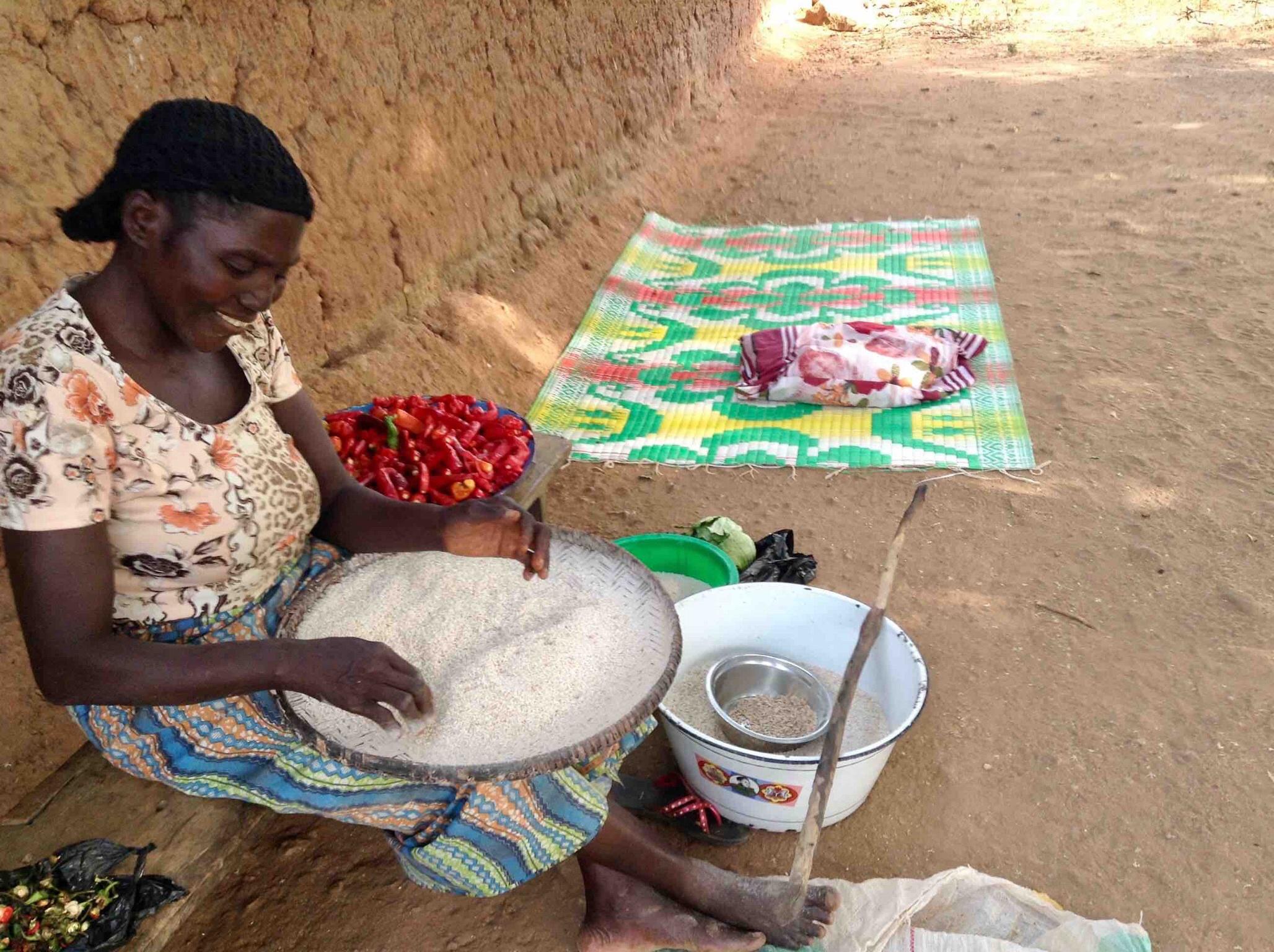 Eggon woman cleaning rice in Langa Langa Village, Nasarawa State, Nigeria. #JujuFilms