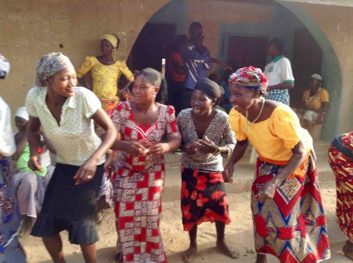 Eggon women and a Gwandara woman dancing, New Year 2017 celebration, Langa Langa Village, Nasarawa State, Nigeria. #JujuFilms