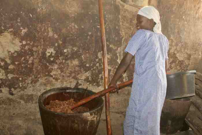 Mixing Kuli Kuli paste in Langa Langa Village, Nasarawa State, Nigeria. #JujuFilms