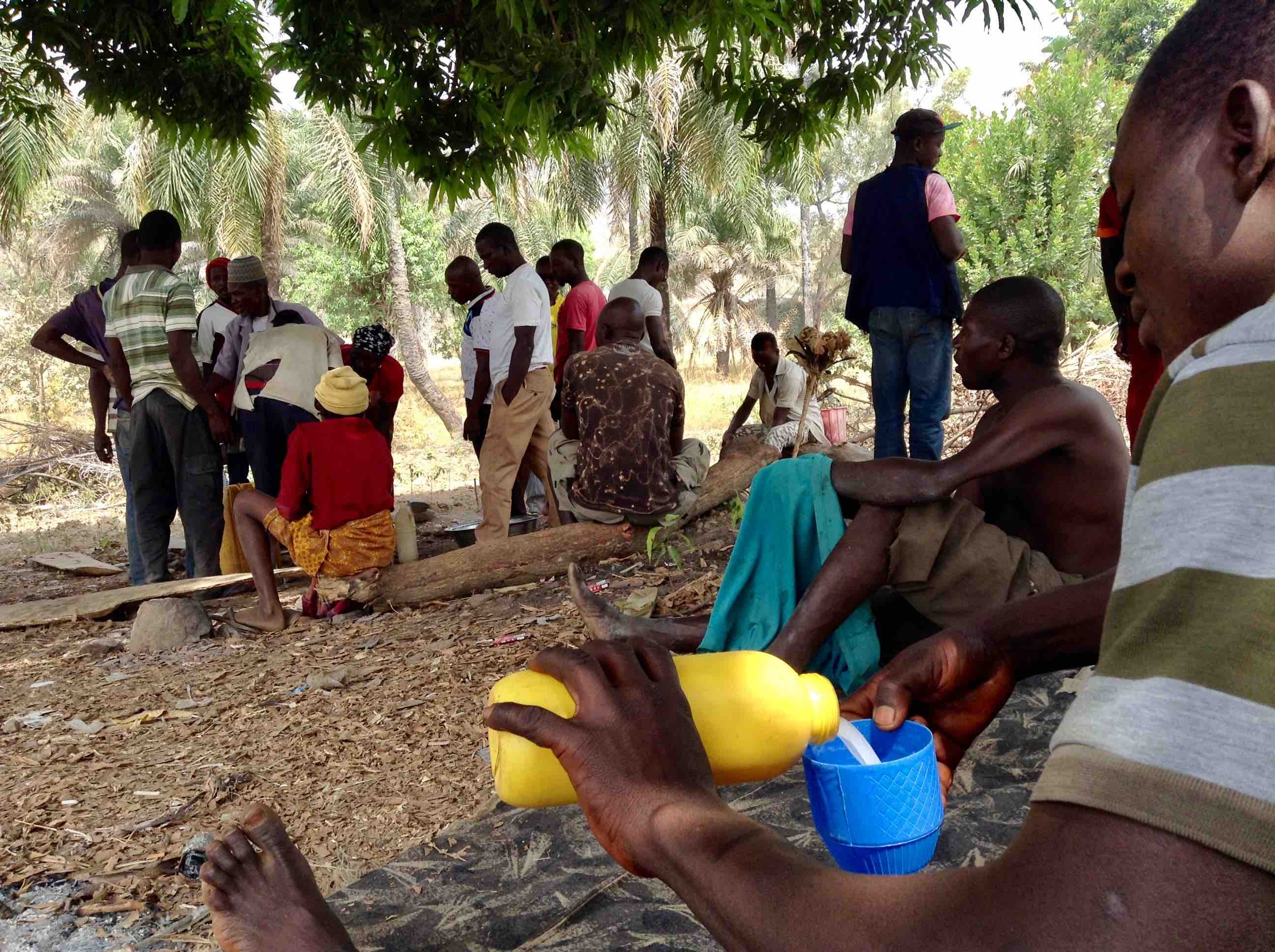 Langa Langa Villagers drinking palm wine under tree shade, Langa Langa Village, Nasarawa State, Nigeria. #JujuFilms